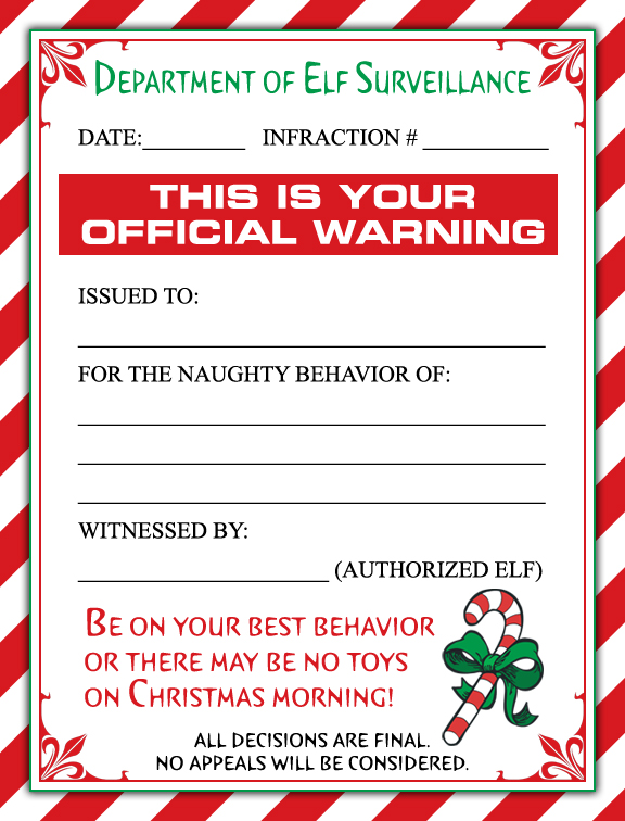 photograph relating to Elf on the Shelf Letter Printable titled Free of charge ELF Caution LETTER