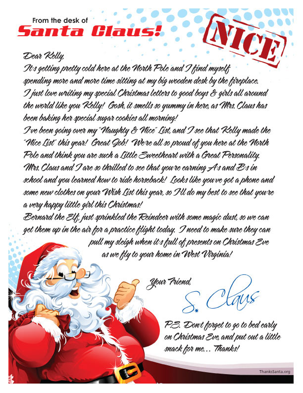 Surprise A Little One In Your Life With An Uplifting, Personalized Letter  From Santa Claus. Resident Of North Pole, Alaska. A Christmas Gift,  Keepsake And ...